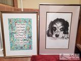 Lot of 2 Framed Prints, Famous Saying & Dog