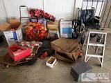 Lot of Various Items; Wheelchair, Pet Carrier, Suitcase, Ladder, Lamp, and more
