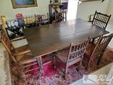7 Piece Dining Room Set; Drop-leaf table, 2 captain/arm chairs, and 4 armless chairs.