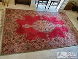 Large 9 ft x 5.75 ft Authentic Oriental wool rug, rich floral motif