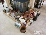 Lot of Decorative Collectibles, Rabbits, Wooden Geese, and more