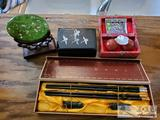 Decorative Asian Chopsticks, Keepsake box, Weighted Balls, Glass piece