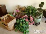 Various Pots and Baskets w/ Artificial Plants