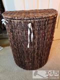 Wicker Laundry Basket With Reusable Bags and New Twin Down Comforter