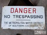 Vintage Porcelain Danger Sign