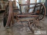 Wooden wagon Trailer W/ wood and steel wheels and two Wagon Wheels