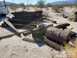 Approx 45 Railroad Ties and Metal Barrel