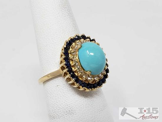 14K Gold Turquoise Diamond Sapphire Ring, 5.13