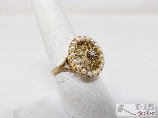 14k Gold Diamond Pearl Ring, 5.4