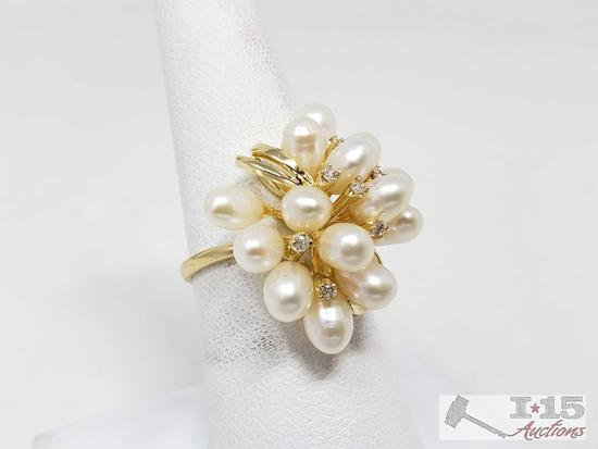 14k Pearl and Diamond Ring, 6.7