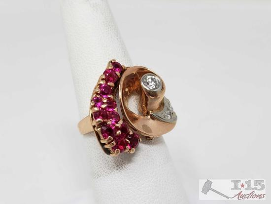 14k Gold Diamond and Ruby Ring,7.7