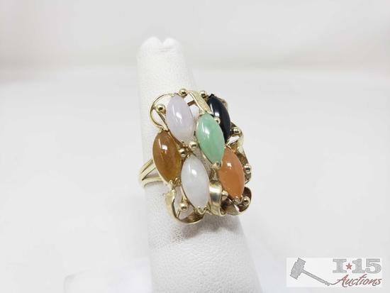 14k Gold Rainbow Jade Ring,6.2