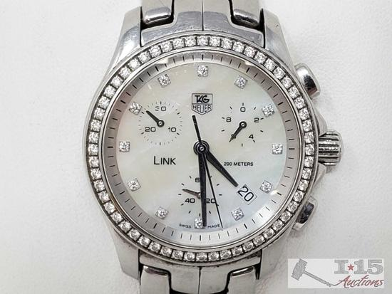 Guaranteed Authentic Tag Mother of Pearl Wristwatch with Diamond Bezel ,103.3
