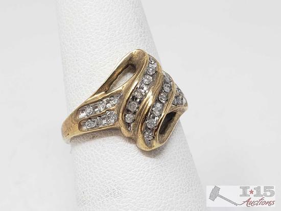 10k Gold Diamond Channel Setting Ring, 3.4