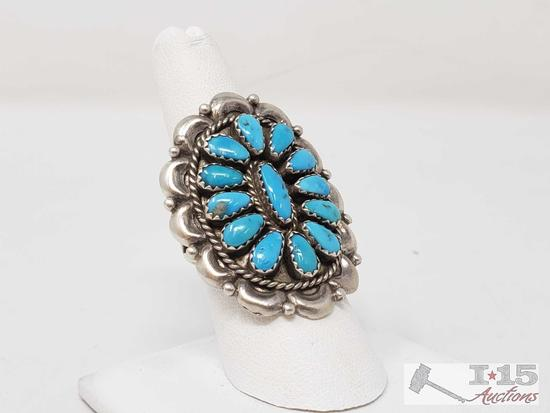 Beautiful Chunky Old Pawn Native American Sterling Silver Turquoise Ring, size 7.5
