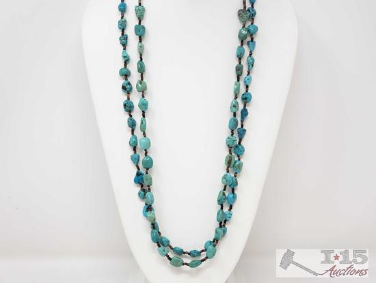 2 Authentic Native American Heishi and Turquoise Nugget Necklaces with Sterling Silver Clasps