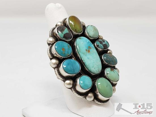 Kathleen Artist Signed Sterling Silver Signed Turquoise Chunky Ring, 28.1g