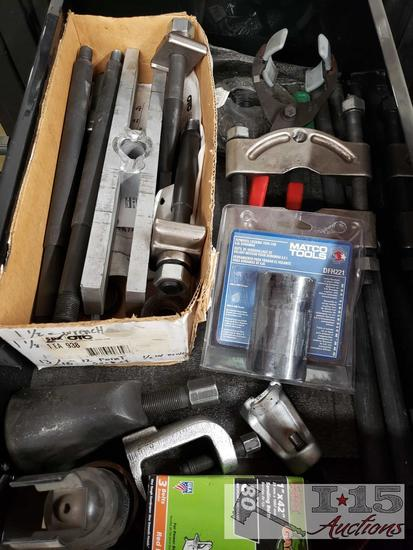 Assorted Pullers, New Matco DFH221 Flywheel Locking Tool for6.6L Duramax, and More