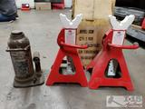 New, MAC Tools Pair of Jack stands & Sears Hydraulic Jack