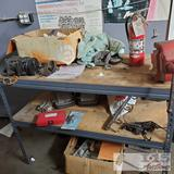 Fire Extinguisher, Athol Mass Vise, Work Bench and Miscellaneous Car Parts/Tools