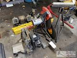 Split Phase Grinder, Two chop saws, Belt sander, Metal SawHorses and Stand