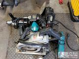 Various Electric Drills, Worm Drive Saw, Grinder, and Sanders
