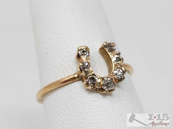 14k Gold Horseshoe Diamond Ring, 1.2g
