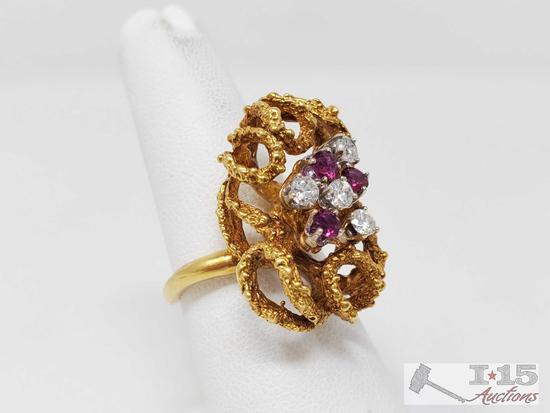 18k Gold Diamond and Ruby Ring, 12.8g
