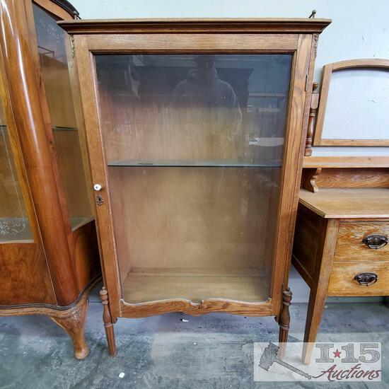 Antique Wood Cabinet w/ Glass Shelf & Key