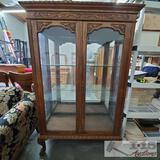 Antique Tiger Oak Cabinet w/ Glass Shelves and Carving