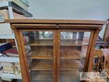 Antique Tiger Oak Cabinet w/ 4 Shelves on Wheels