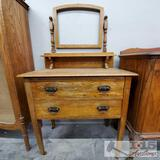 Antique Two Drawer Dresser w/ Vanity & Antique Wheels