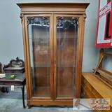Antique 7' tall cabinet w/ Glass doors and Shelves