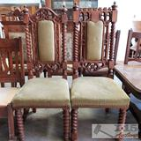 Antique King & Queen Carved Wood Dining Chairs