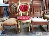 2 Antique Wood Chairs & 1 Antique Rocking Chair