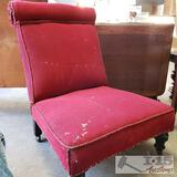 Antique Red Fabric Lounge Chair w/ Wheels