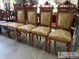4 Antique Carved Wood Chairs