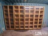 4 Five Shelf Cabinets w/ Wood Framed Glass Doors