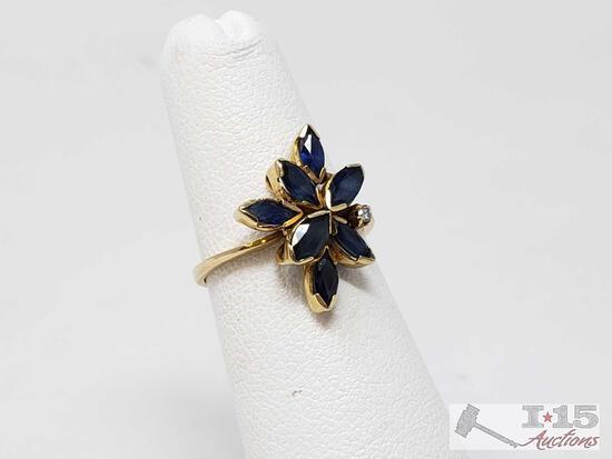 18k Gold Sapphire Diamond Ring, 2