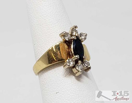 14k Gold Diamond Sapphire Ring, 5g
