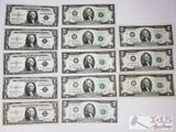 1976 2 Dollar Bills, 1935 and 1957 Blue seal D Dollar Bills