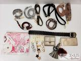 Purse Straps, Key Chains, Printed Zip Pouch, a Belt, and a small wallet