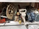 3 Vintage Fans, Craftsmen Bushwacker, Electrolux Vacuum, 3 Irons, and more