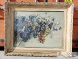 Signed Framed Dated Painting - Grape Vines