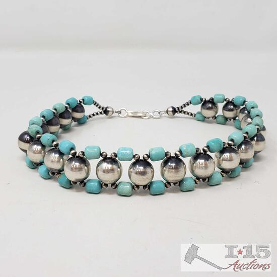 Native American Choker with Turquoise and Navajo Beads, 55.7