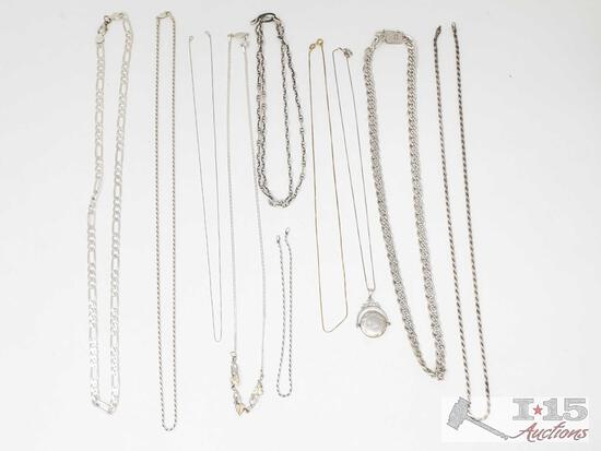 10 Sterling Silver Necklaces, 121.8g