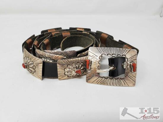 Native American Handmade marked Sterling Silver Concho Belt with Red Coral stones