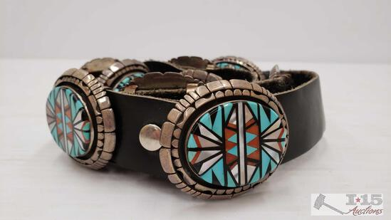 Sterling Sliver Native American Turquoise, Mother of Pearl, and Inlay Concho Belt, 458g