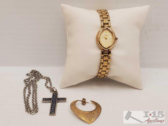 Citizen Quartz Watch, Cross Pendant Necklace and Earring