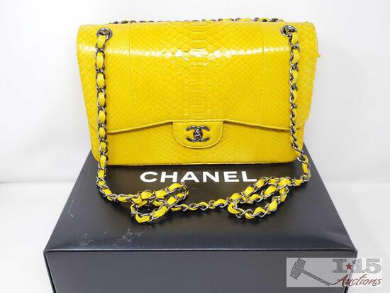 RARE LIKE NEW Authentic Chanel Genuine Python JUMBO Classic Double Flap Bag with Box